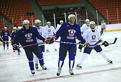 David Rodman, Tomaz Razingar, Andrej Hebar at practice of Slovenian national team at Hockey IIHF WC 2008 in Halifax,  on May 04, 2008 in Metro Center, Halifax, Canada.  (Photo by Vid Ponikvar / Sportal Images)