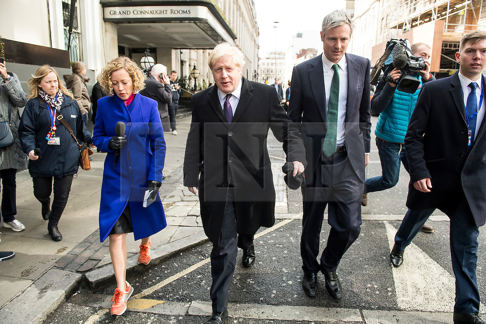 © Licensed to London News Pictures. 09/04/2016. London, UK.  BORIS JOHNSON and ZAC GOLDSMITH being questioned by a reporter as they leave the Conservative Party Spring Forum in central London.  Conservative party leader and British prime minster David Cameron has come under pressure after it was revealed that he had  investment in an offshore fund.  Photo credit: Ben Cawthra/LNP