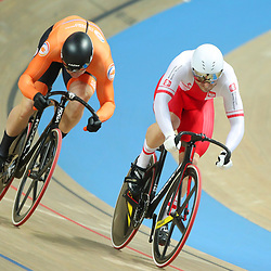 03-03-2019: WK wielrennen: Baan: Pruszkow<br />- Cycling - UCI Track Cycling World Championships presented by Tissot - Velodrome BGZ Arena, Pruszkow, Poland - Mateusz Rudyk of Poland and Harrie Lavreysen of The Netherlands Men's Sprint.