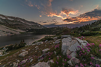 I woke up early to hike to Lookout Lake and shoot the sunrise. Colorful fireweed flowers were blooming along the edge of the lake and the 12,014' Medicine Bow Peak can be seen on the left.