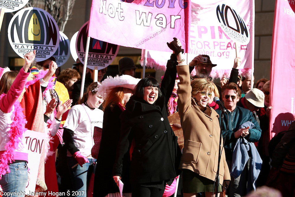 Eve Ensler, left, and Jane Fonda (and Sean Penn, right) attend a Code Pink Rally at the Navy Memorial. Over 100,000 anti-war protesters gathered on the Washington Mall and then marched on a route around the U.S. Capitol.