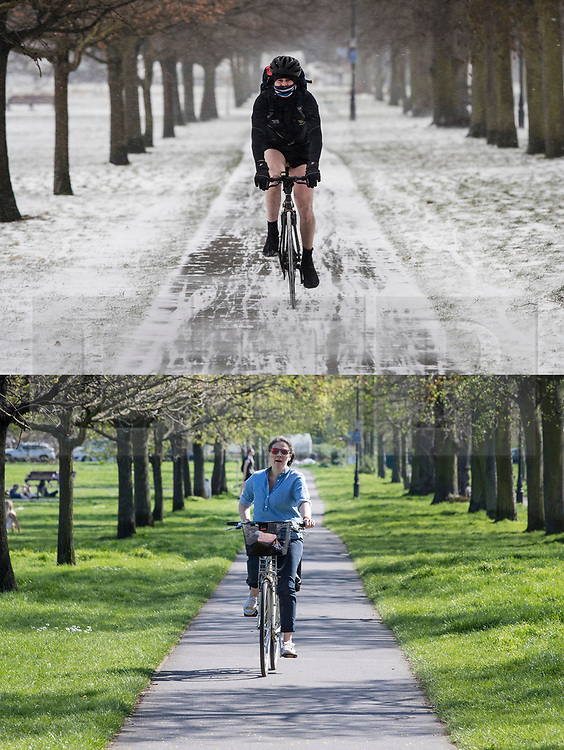 © Licensed to London News Pictures. 19/04/2018. London, UK. In this combination image cyclists are seen on Clapham Common in the snow on March 1st 2018 (TOP) and today in the same spot (lower) as parts of the UK are enjoying high unseasonal April temperatures. Photo credit: Peter Macdiarmid/LNP