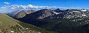 USA, Colorado, Rocky Mountain National Park, Long's Peak from Trail Ridge Road, digital composite, panorama
