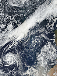 October 13, 2017 - Atlantic Ocean - In the latest twist from an unusually potent Atlantic hurricane season, a tropical storm is now headed for the shores of Ireland. Hurricane Ophelia probably won't make it to the island as a true hurricane; it is more likely to evolve into an extratropical cyclone as it passes over cooler North Atlantic water. But either way, strong winds and heavy rain are expected to blow into the southwest coast of Ireland and over parts of the United Kingdom on October 16, 2017. (Credit Image: © NASA Earth/ZUMA Wire/ZUMAPRESS.com)