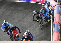 August 11, 2018 - Glasgow, UNITED KINGDOM - Belgian BMX cyclist Mathijs Verhoeven and Belgian BMX cyclist Ruben Gommers pictured in action during the 1/8 finals of the men's BMX event at the European Championships, in Glasgow, Scotland, Saturday 11 August 2018. European championships of several sports will be held in Glasgow from 03 to 12 August. BELGA PHOTO ERIC LALMAND (Credit Image: © Eric Lalmand/Belga via ZUMA Press)
