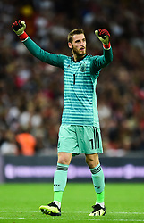 David de Gea of Spain celebrates his teams goal. - Mandatory by-line: Alex James/JMP - 08/09/2018 - FOOTBALL - Wembley Stadium - London, United Kingdom - England v Spain - UEFA Nations League