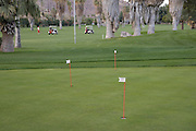 practice putting holes on a golf course with golf carts driving in the distance