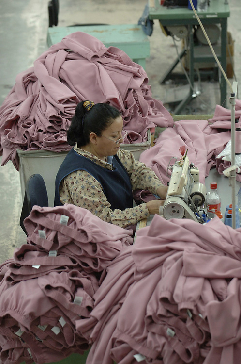 Matamoros, Mexico April, 2006: Clothing manufacturer BonWorth factory complex across the U.S. border in Mexico has 650 employees producing about 10,000 garments a day to supply its 200-plus U.S. stores in 31 states. ©Bob Daemmrich