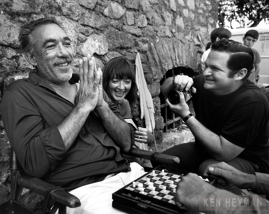 Ken Heyman photographing Anthony Quinn on the movie set.