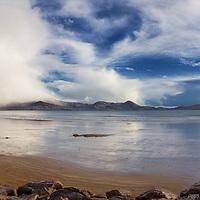 Massiv Hail Shower over Waterville, Reenroe Beach - famous irish weather, Ring of Kerry, ireland / wv069