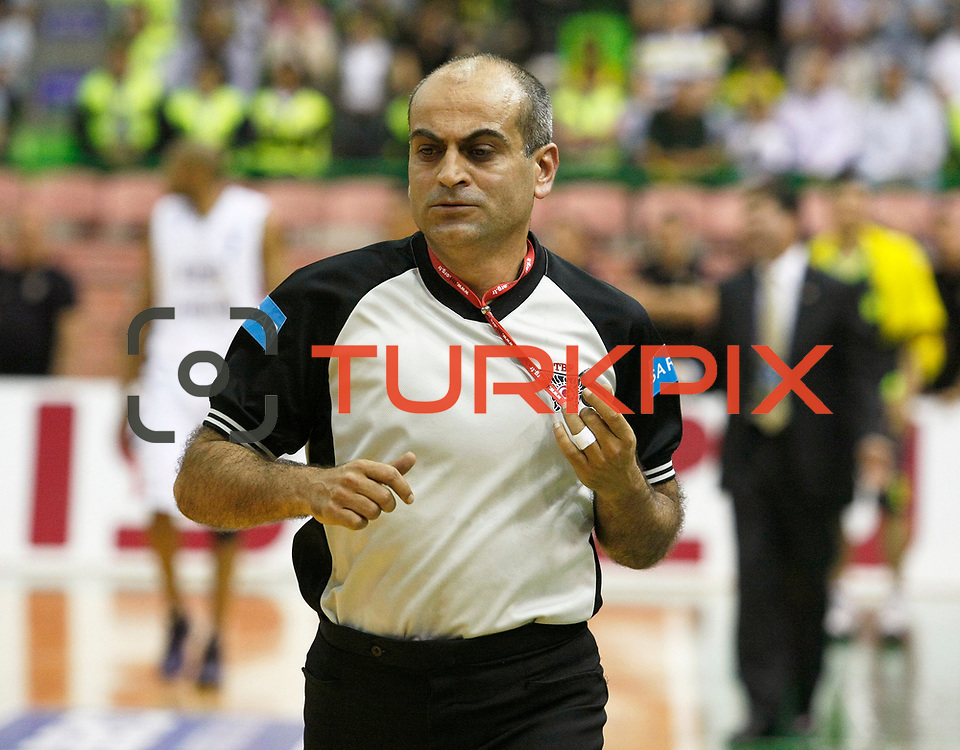 Referee's Recep ANKARALI during their Turkish Basketball league Play Off Final second leg match Efes Pilsen between Fenerbahce Ulker at the Ayhan Sahenk Arena in Istanbul Turkey on Saturday 22 May 2010. Photo by Aykut AKICI/TURKPIX