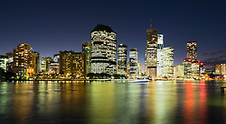 Night view of skyline of central business district of Brisbane in Queensland Australia