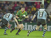 Photo Peter Spurrier<br /> 07/12/2002<br /> European Rugby - Heineken Cup Northamton vs Cardiff.<br /> Steve Thompson running at the Cardiffwith the ball.