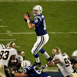 2010 February 07: Indianapolis Colts quarterback Peyton Manning (18) looks to throw the ball during a 31-17 win by the New Orleans Saints over the Indianapolis Colts in Super Bowl XLIV at Sun Life Stadium in Miami, Florida.