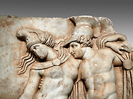 Close up of a Roman Sebasteion relief sculpture of Achilles and a dying Amazon, Aphrodisias Museum, Aphrodisias, Turkey.   <br /> <br /> Achilles supports the dying Amazon queen Penthesilea whom he has mortally wounded. Her double headed axe slips from her hands. The queen had come to fight against the Greeks in the Trojan war and Achilles fell in love with her. .<br /> <br /> If you prefer to buy from our ALAMY STOCK LIBRARY page at https://www.alamy.com/portfolio/paul-williams-funkystock/greco-roman-sculptures.html . Type -    Aphrodisias     - into LOWER SEARCH WITHIN GALLERY box - Refine search by adding a subject, place, background colour, museum etc.<br /> <br /> Visit our ROMAN WORLD PHOTO COLLECTIONS for more photos to download or buy as wall art prints https://funkystock.photoshelter.com/gallery-collection/The-Romans-Art-Artefacts-Antiquities-Historic-Sites-Pictures-Images/C0000r2uLJJo9_s0
