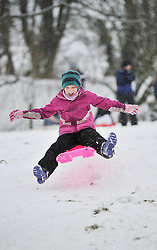 © Licensed to London News Pictures. 20 January 2013. Chipping Norton, Oxfordshire. Martha Miller (9). Fun in the snow at Chipping Norton. Photo credit : MarkHemsworth/LNP