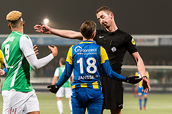 referee Christiaan Bax gives a red card to Dennis Janssen of FC Oss during the Jupiler League match between FC Dordrecht and FC Oss at the Riwal Hoogwerkers Stadium on January 26, 2016 in Dordrecht, The Netherlands