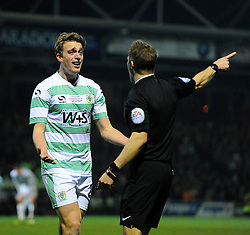 Yeovil Town's Tom Eaves appeals  - Photo mandatory by-line: Joe meredith/JMP - Mobile: 07966 386802 - 04/01/2015 - SPORT - football - Yeovil - Huish Park - Yeovil Town v Manchester United - FA Cup - Third Round