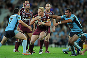 May 25th 2011: Ben Hannant of the Maroons runs the ball during game 1 of the 2011 State of Origin series at Suncorp Stadium in Brisbane, Australia on May 25, 2011. Photo by Matt Roberts/mattrIMAGES.com.au / QRL
