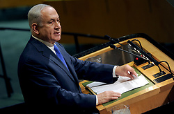 Israeli PM Benjamin Netanyahu addresses the 72nd session of the General Assembly at the United Nations in New York City, NY, USA, on September 19, 2017. Photo by Dennis Van Tine/ABACAPRESS.COM