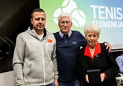 Drago Zavrsnik with son and wife of Anton Grosman during General Assembly of Slovenian Tennis Federation, on December 12, 2018 in Kristalna palaca, Ljubljana, Slovenia. Photo by Vid Ponikvar / Sportida