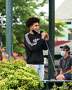 Bar Harbor, Maine. July 19, 2020. Charlie Parker introduces speakers at the MDI Racial Justice Coalition rally.