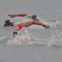 Members of team China compete in the Junior Team 3 km competition of the FINA World Junior Open Water Swimming Championships in Balatonfured (about 132 km South-West from capital city Budapest), Hungary on September 07, 2014. ATTILA VOLGYI