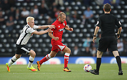 Will Hughes of Derby County (L) and Luke Summerfield of Grimsby Town in action - Mandatory by-line: Jack Phillips/JMP - 09/08/2016 - FOOTBALL - iPro Stadium - Derby, England - Derby County v Grimsby Town - EFL Cup First Round