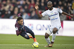 Neymar Jr of Paris Saint-Germain in action with Dimitri Foulquier of RC Strasbourg during the Ligue 1 match between Paris Saint Germain and RC Strasbourg at the Parc des Princes in Paris, FRANCE on February 17, 2018.Paris Saint Germain won RC Strasbourg with 5-2 (Credit Image: © Jack Chan/Chine Nouvelle/Xinhua via ZUMA Wire)