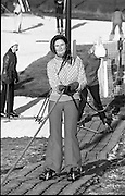 Ski-ing practice at Kilternan Sports Club. (K1).1976.25.01.1976.01.25.1976.25th January 1976..Skiers practiced on the artificial ski slope at Kilternan Sports Club in South Dublin. The ski slope is Irelands only artificial ski slope..The skiers were practicing for their holidays in colder climates. The Ski Club of Ireland was founded in 1963 and a few years later ran its first slope in Knockrabo in Mount Anville, Goatstown, south Co. Dublin..In the mid 1970's the Club moved from the suburbs to its current location in Kilternan.