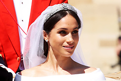 File photo dated 19/05/2018 of Duchess of Sussex after her wedding wearing the Queen MaryÕs diamond bandeau tiara. Princess Eugenie may follow in the footsteps of her mother, Sarah Ferguson, Duchess of York, and wear the York diamond tiara on her wedding day.