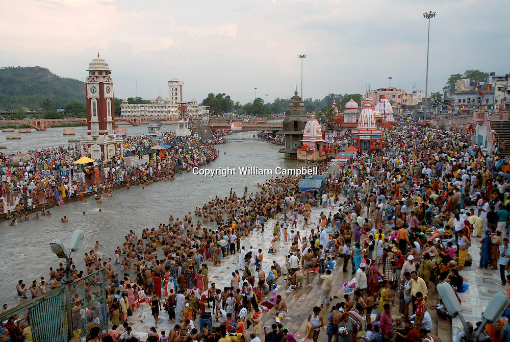 The Ganga Dashara festival on the banks of the Ganges River in the town of Hardiwar 6/12/08. Hundreds of thousands of Hidu pilgrims come to Hardiwar to celebrate the day that the river Ganga came to earth.