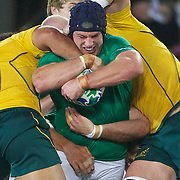Sean 'Brien, Ireland, is tackled during the Australia V Ireland Pool C match during the IRB Rugby World Cup tournament. Eden Park, Auckland, New Zealand, 17th September 2011. Photo Tim Clayton...