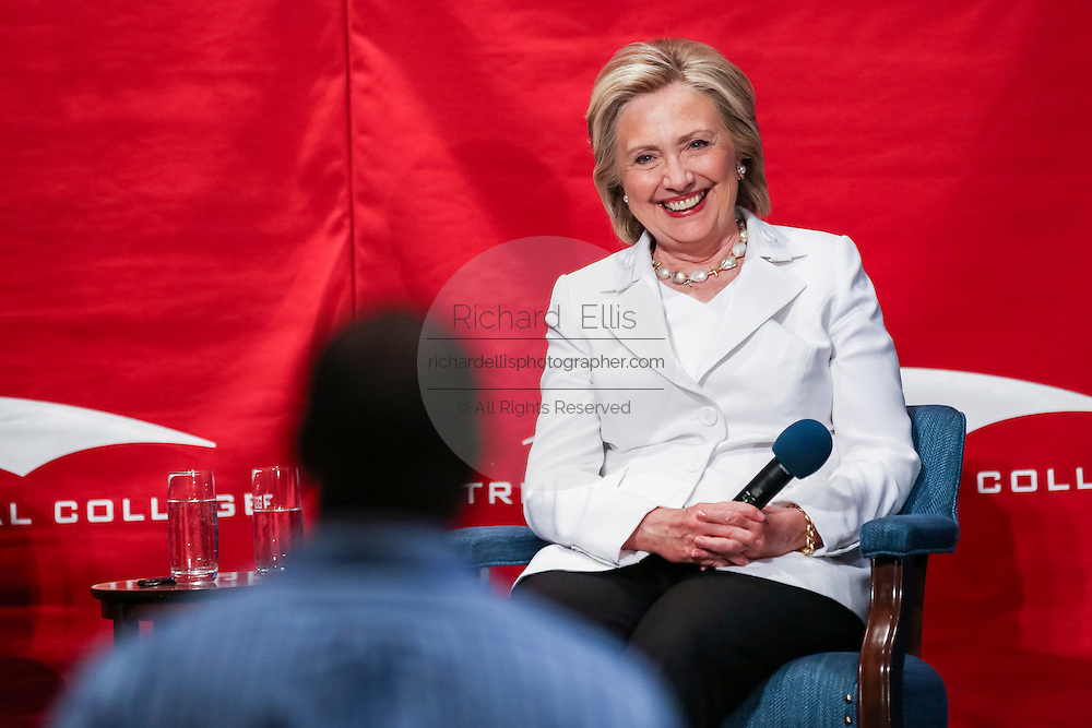 Former Secretary of State and Democratic presidential candidate Hillary Rodham Clinton takes a audience question during a discussion on community college apprenticeship programs at Trident Tech June 17, 2015 in North Charleston, South Carolina.