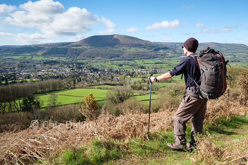 Overlooking Abergavenny and Blorenge from the track below Tywn yr Allt