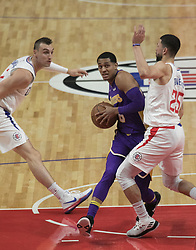 November 27, 2017 - Los Angeles, California, U.S - Jordan Clarkson #6 of the Los Angeles Lakers goes for a shot during their game with the Los Angeles Clippers on Monday November 27, 2017 at the Staples Center in Los Angeles, California. Clippers vs Lakers. (Credit Image: © Prensa Internacional via ZUMA Wire)