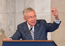 United States Senate Minority Leader Harry Reid (Democrat of Nevada) makes remarks at the ceremony where his official portrait is to be unveiled in the Kennedy Caucus Room on Capitol Hill in Washington, DC, USA, on Thursday December 8, 2016. Photo by Ron Sachs/CNP/ABACAPRESS.COM