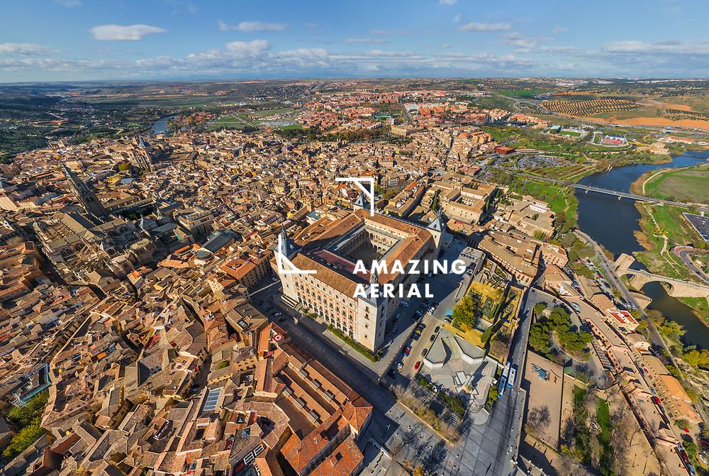 Aerial view of Alcazar of Toledo, Spain