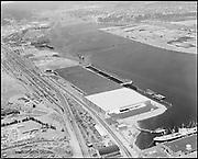 """Ackroyd 11007-7 """"Waterways, Division of Crown Zellerbach. Aerial of Waterways Terminal from land side. June 22, 1962"""""""