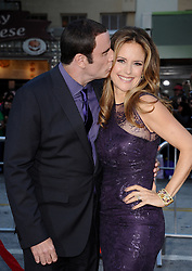 File photo - John Travolta and Kelly Preston arrive at the World premiere of Universal Pictures' 'Savages' held at the Mann Village Theatre in Los Angeles, CA, USA on June 25, 2012. Kelly Preston, the actress married to John Travolta, has died after a private battle with breast cancer, aged 57. The actress had been battling against breast cancer for two years, with a family representative confirming news of her passing to People today. Photo by Lionel Hahn/ABACAPRESS.COM