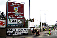 a general view in the streets  outside the Turf Moor stadium before the match. Skybet football league championship match, Burnley  v Birmingham City at Turf Moor in Burnley, Lancs on Saturday 15th August 2015.<br /> pic by Chris Stading, Andrew Orchard sports photography.