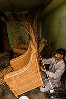 Man making ratan chairs, Srinagar, Kashmir, Jammu and Kashmir State; India.