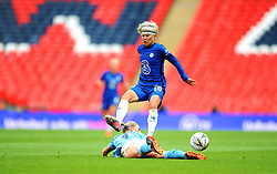 Ji So-Yun of Chelsea Women is tackled by Gemma Bonner of Manchester City Women - Mandatory by-line: Nizaam Jones/JMP - 29/08/2020 - FOOTBALL - Wembley Stadium - London, England - Chelsea v Manchester City - FA Women's Community Shield