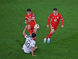 CARDIFF, WALES - Friday, September 6, 2019: Wales' Daniel James and Azerbaijan's Mahir Emreli during the UEFA Euro 2020 Qualifying Group E match between Wales and Azerbaijan at the Cardiff City Stadium. (Pic by Paul Greenwood/Propaganda)