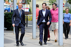 © Licensed to London News Pictures. 01/06/2017. London, UK.  Liberal Democrat Leader Tim Farron and LibDem Brexit Spokesman Nick Clegg arrive to visit hospital staff at Kingston Hospital and local voters at the nearby Shiraz Mirza Community Centre.  Photo credit : Stephen Chung/LNP