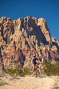 Mountain biking on the Cottonwood Valley Trail System, Red Rock Canyon Conservation Area, near Las Vegas, Nevada.  (MR)