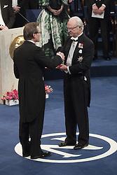 Nobelpreisverleihung 2016 in der Konzerthalle in Stockholm / 101216 ***Bernard L Feringa, The Nobel Prize in Chemistry 2016, king Carl XVI Gustaf <br />  ***The annual Nobel Prize Award Ceremony at The Concert Hall in Stockholm, December 10th, 2016***