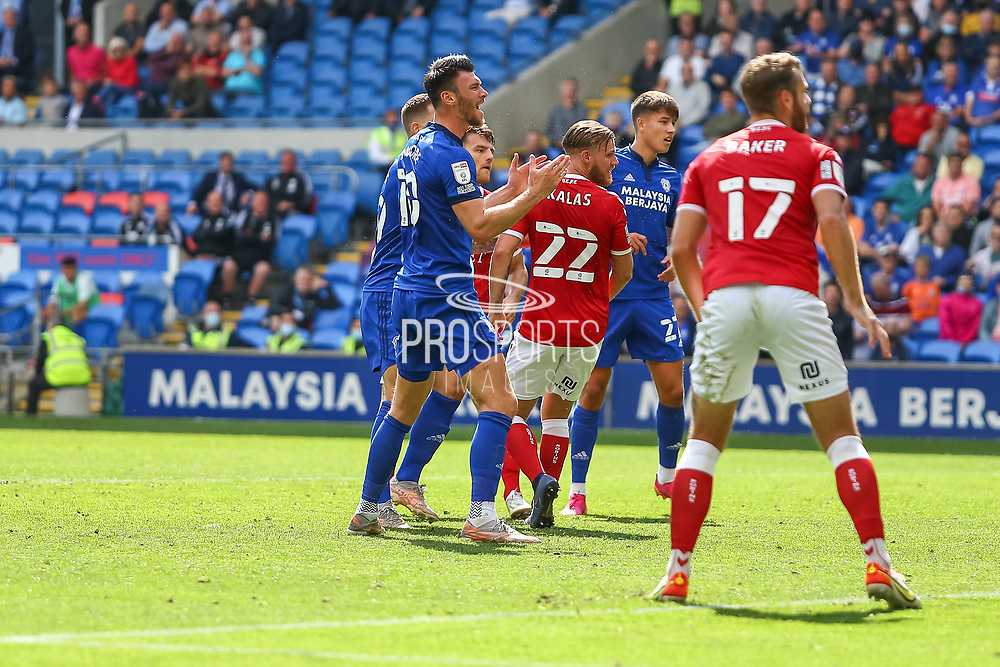 Cardiff City forward Kieffer More (10) can't believe the missed opportunity during the EFL Sky Bet Championship match between Cardiff City and Bristol City at the Cardiff City Stadium, Cardiff, Wales on 28 August 2021.