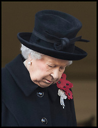 November 11, 2018 - London, London, United Kingdom - Image licensed to i-Images Picture Agency. 11/11/2018. London, United Kingdom. Queen Elizabeth II at the Remembrance Sunday service at The Cenotaph in London on  the Centenary of the end of the First World War. (Credit Image: © Stephen Lock/i-Images via ZUMA Press)