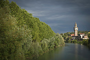 View of river with tower in background, Epernay, France